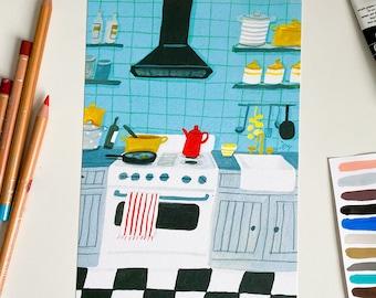 A5 Turquoise kitchen Art print
