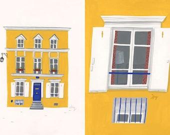 A4 Paris Art Print, Yellow house in Rue Cremieux, Paris
