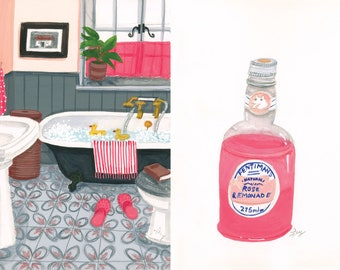 A4 Art print, And relax, pink bathroom with roll top bath