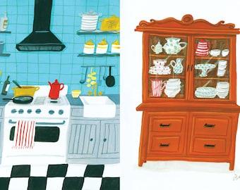A4 Art Food Print, Turquoise kitchen
