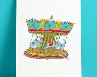 A4 Travel art print, Musical Carousel, Italy