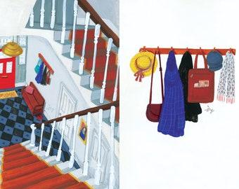 A4 Art Print Victorian London house & clothes hooks