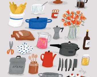 A4 Digital art print, Kitchen pots & pans, food illustration print