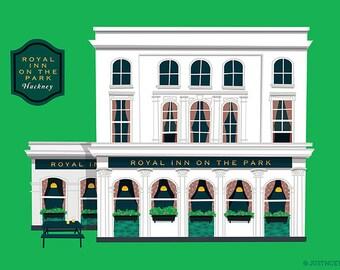 A3 London Pub Art print, Royal Inn On the Park, Hackney, East London, London
