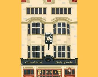 A3 London Pub Art Print, The Cittie of Yorke, Holborn, London