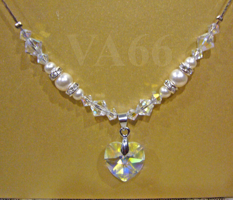 18KGP Bridal Swarovski Pearl Crystals 6202 14mm Heart Bicones Crystal  Rhinestone Diamond Necklace 16