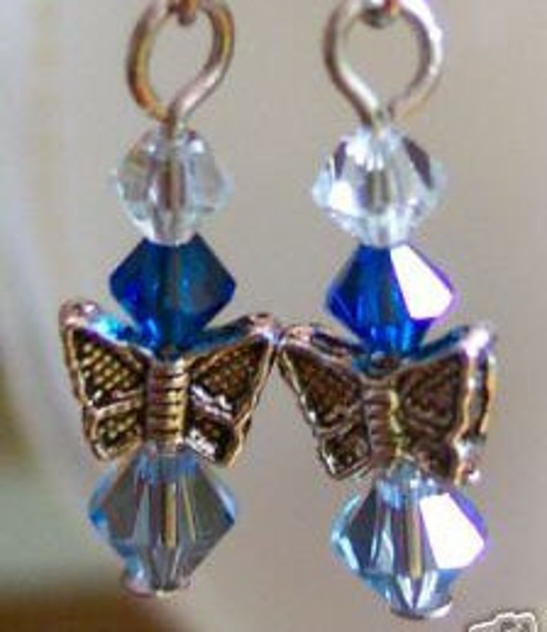 fe9fcb622066c Swarovski Crystals Butterfly Earrings Blue 7 Col Choice for children, girl,  birthday, gift, sweet sixteen