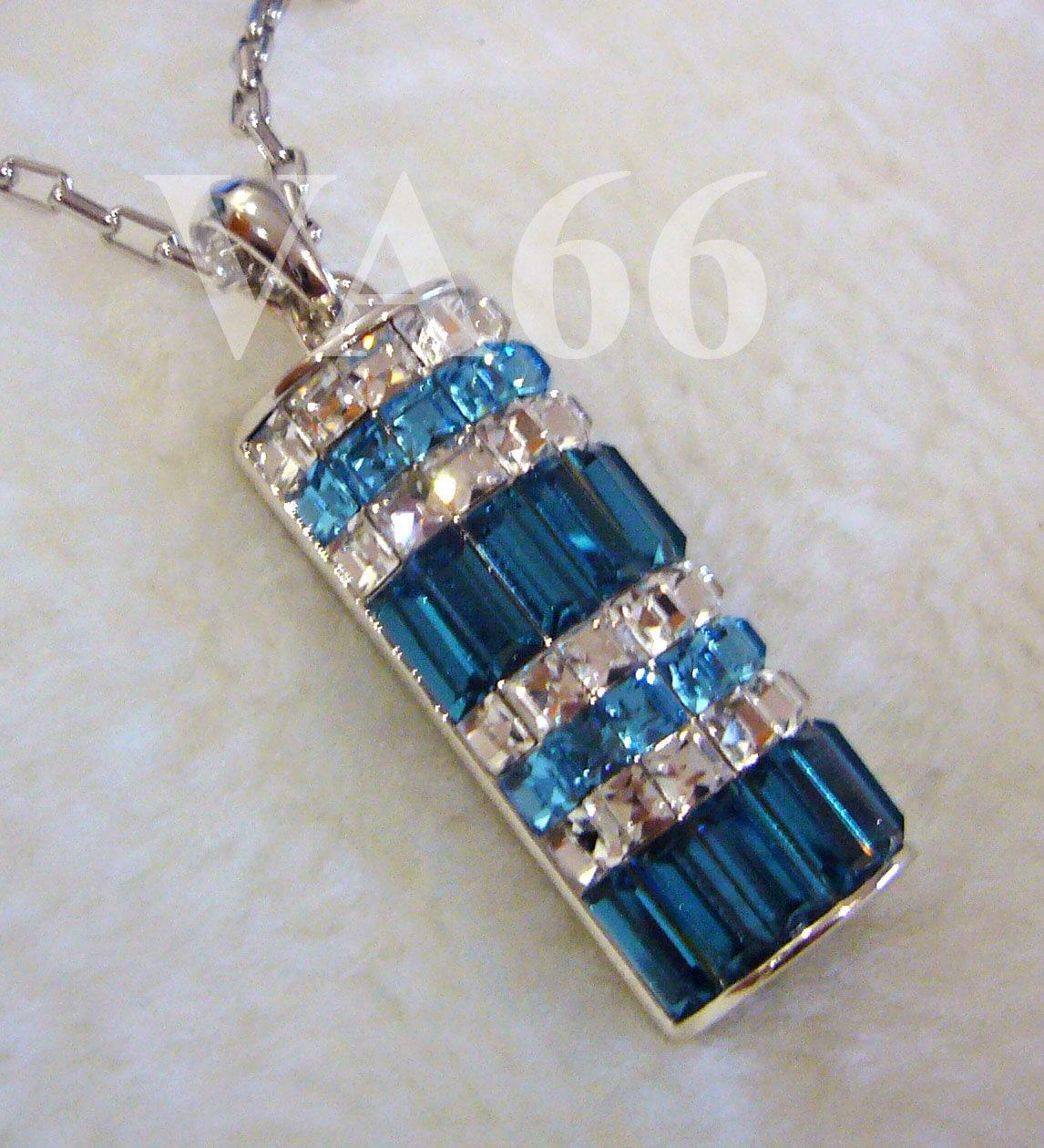 18KGP Rhodium Plated Diamond Swarovski Crystal Pendant Necklace Something  Blue Teal Bridal, Bridesmaids, Flower Girl, Christmas, MOB