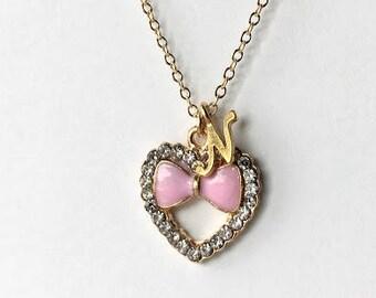 Valentine's Day Gift, Heart Necklace, Flower Girl Gift, Flower Girl Necklace, Bow Necklace, Ribbon Necklace, Initial Necklace, Gold Necklace