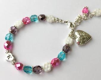 Heart Locket for Girls - Heart Locket Bracelet - Heart Locket with Initial - Flower Girl Gift - Flower Girl Jewelry - Name Bracelet