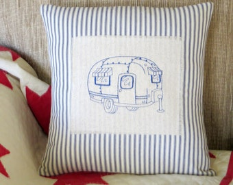 vintage airstream camping pillow, canned ham camper pillow, french ticking pillow