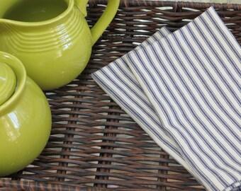 6 dinner napkins, French ticking napkins, fabric napkins, navy stripe napkins, farmhouse napkins