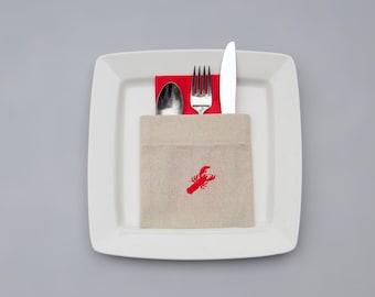 lobster flatware pockets, utensil pouches, silverware holders
