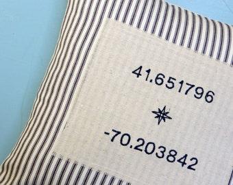 Longitude Latitude pillow, personalized pillow, coordinates pillow, french ticking pillow