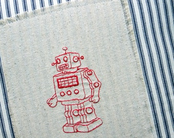 vintage red robot, French Ticking pillow,  nursery pillow