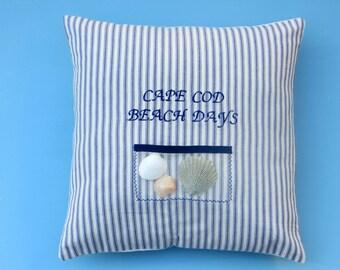 cape cod, beach days, French Ticking, navy blue stripe pillow