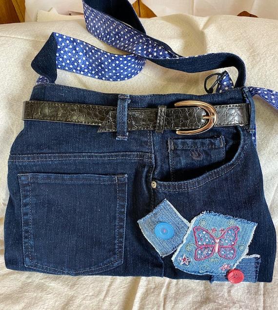 Black recycled denim jean purse or tote baglargeshoulder bagfully linedzippered closureinside pockets