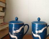 Monaco blue shrimp mug set / tea cups / matching pair