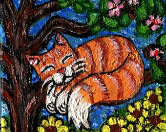 Mixed Media Collage Set of Three refrigerator Magnets Hand Painted Orange Striped Tabby Cat Magnet Set