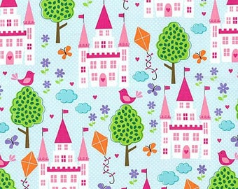 OOP HTF 18 inches Enchanted Castles Fabric by Michael Miller Midevil Pink Princes Castles Birds Trees on Blue