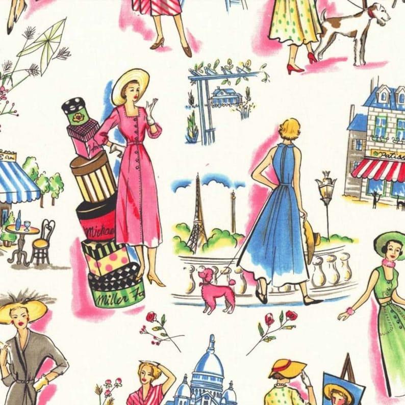 OOP HTF one yard Michael Miller Spring time In Paris Fabric Vintage Pastel Women and Street Scenes on White