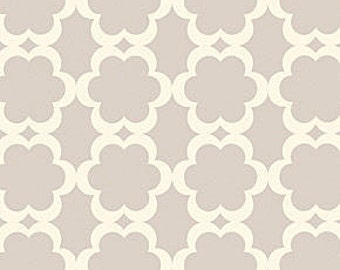 TAZA Fabric Tarika Dena Quatrefoil Print Lattice Work Creamy White and Gray Grey