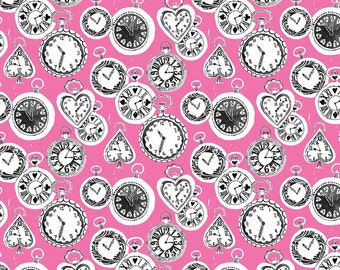 Wonderland Fabric Tick Tock Clocks Late For an Important Date with a Silly Rabbit on Pink by Blend