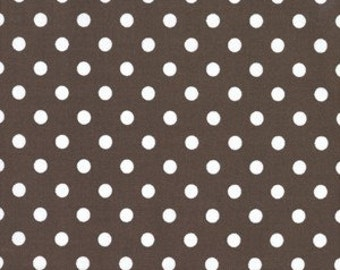 Chocolate Brown White Polka Dumb Dot Fabric M Miller