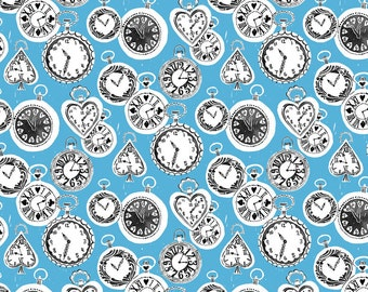 Wonderland Fabric Tick Tock Clocks Late For an Important Date with a Silly Rabbit on Blue by Blend
