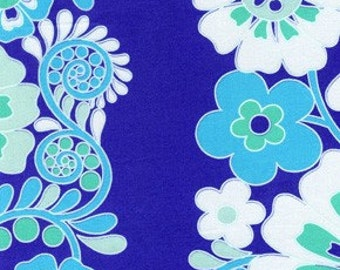 OOP HTF 25 inches Queen Street Fabric Madeline Flower Stripes Periwinkle Blue Purple