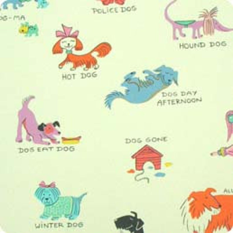 OOP HTF 18 inches Hush Puppies Alexander Henry Fabric All Breeds Puppy Dog