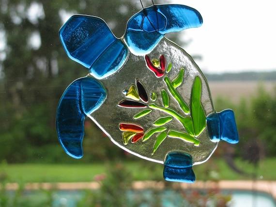 Fused Glass Turtle Suncatcher FREE SHIPPING