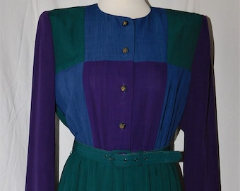 Vintage Leslie Fay Petites size 8P Belted Pleated Dress Office Secretary Boss