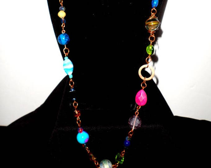 Multi Color Long Single Strand Glass Beads and Copper Necklace