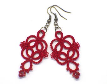 Red earrings, Red lace earrings, Red jewelry, romantic earrings, tatting lace jewelry, Christmas earrings, Handmade Holiday gift for her