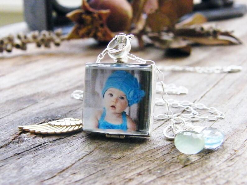 angelversary glass photo locket sterling silver heirloom keepsake remembrance necklace blackened or shiny finish