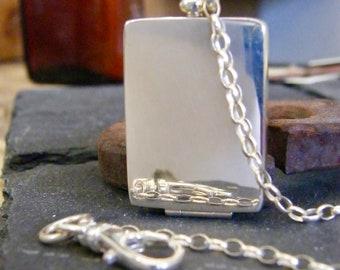 men's pocket locket, sterling silver photo pocket locket, memorial locket for pictures