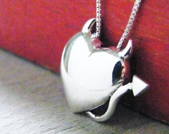 devil heart necklace sterling silver pendant