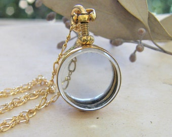 small round deep glass locket round,  gold floating glass round deep locket,  a pure rox jewels exclusive design