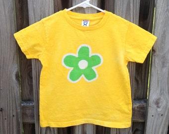 Flower Girls Shirt, Kids Flower Shirt, Yellow Flower Shirt, Green Flower Shirt, Girls Flower Shirt, Batik Kids Shirt (4T)