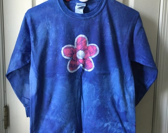 Flower Girls Shirt, Blue Flower Shirt, Blue Girls Shirt, Blue Flower Girl, Flower Girl Gift, Kids Batik Shirt, Girls Batik Shirt (8)
