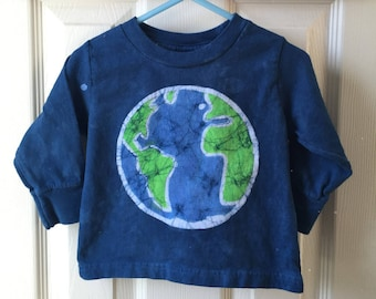 Kids Earth Day Shirt, Blue Earth Kids Shirt, Boys Earth Shirt, Girls Earth Shirt, Batik Earth Day Shirt, Toddler Earth Day Shirt
