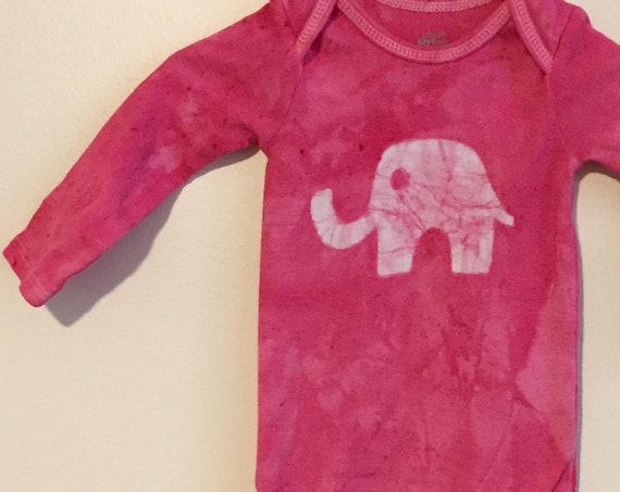 Elephant Baby Gift, Elephant Baby Bodysuit, Pink Elephant Bodysuit, Baby Shower Gift, Baby Girl Gift, Pink Baby Gift (3-6 months)