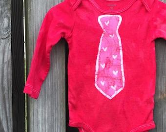 Valentine's Day Baby Bodysuit, Baby Bodysuit with Tie, Baby Boy Valentine's Day, Baby Girl Valentines Day, First Valentines Day (12 months)
