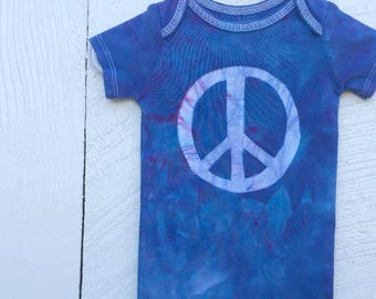 Peace Sign Baby Bodysuit, Blue Baby Peace Sign Bodysuit, Peace Sign Baby Gift, Baby Shower Gift, Gender Neutral Baby Gift (12 months)
