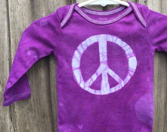 Peace Sign Baby Bodysuit, Purple Peace Sign, Baby Boy Peace Sign, Baby Girl Peace Sign, Gender Neutral Baby Gift, Peace Baby (3-6 months)