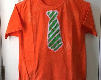 Kids Tie Shirt, Orange Tie Shirt, Green Tie Shirt, Batik Tie Shirt, Kids Necktie Shirt, Boys Tie Shirt, Girls Tie Shirt (8)