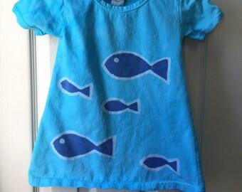 Girls Fish Dress, Blue Girls Dress, Toddler Fish Dress, Blue Fish Dress, Batik Girls Dress, Short Sleeve Dress, Ocean Dress (2T)