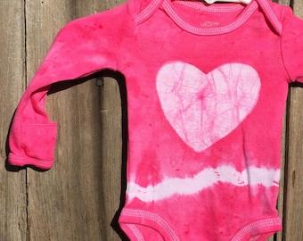 Baby Valentine's Day Gift, Baby's First Valentine's Day, Valentine's Day Baby, Pink Heart Baby Bodysuit, Tie Dye Baby Girl Gift (Newborn)