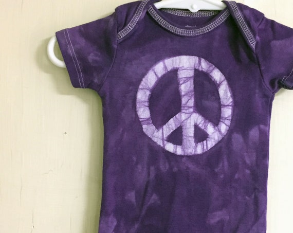 Peace Sign Baby Bodysuit, Baby Peace Sign Bodysuit, Peace Sign Baby Gift, Purple Newborn Baby Gift, Gender Neutral Baby Gift (0-3 months)